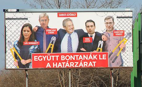 Conspiratorial billboard depicting Soros in cahoots with Hungarian opposition party leaders