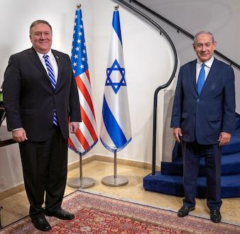 Mike Pompeo visits Israel during COVID-19 pandemic, seen standing six feet from Israeli Prime Minister Benjamin Netanyahu