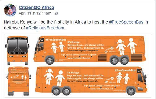 CitizenGO Africa recently announced on Facebook that Nairobi, Kenya would be the first city on the continent to host the so-called #FreeSpeechBus.