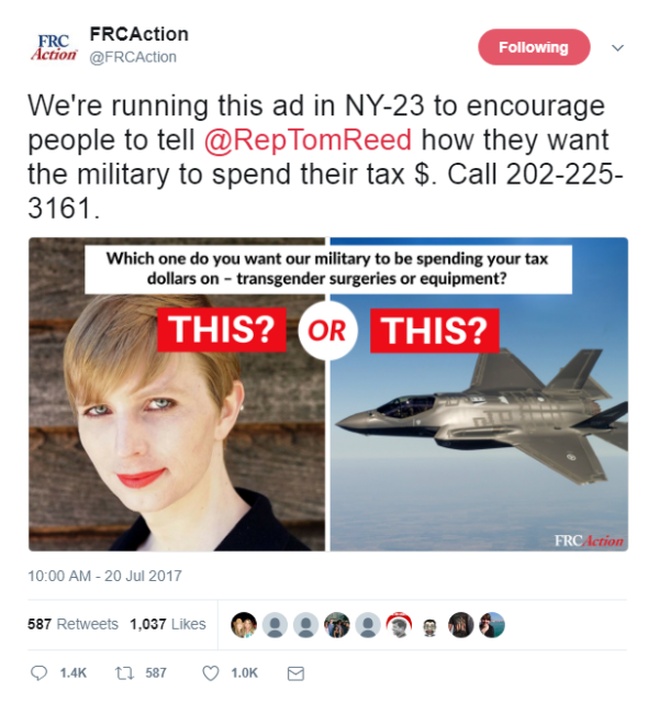 Family Research Council sent a strong anti-trans message via Twitter on July 20th, ahead of Trump's tweet on Wednesday announcing a ban on trans service members.