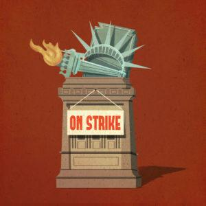 "Jennifer Luxton, ""Liberty on Strike"" for YES! Magazine online, March 2017, digital illustration."