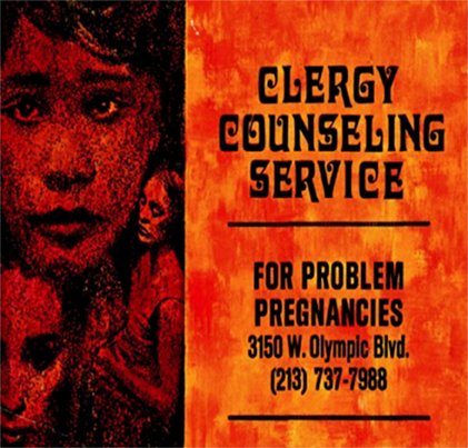 "An orange tinted poster that says ""Clergy Counseling Service"""