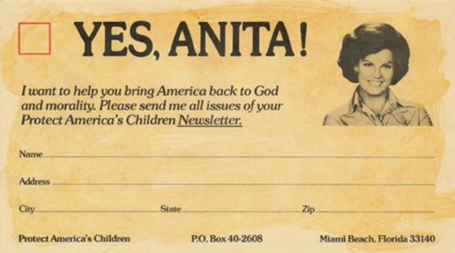 Fundraising card used by Anita Bryant, 1977.