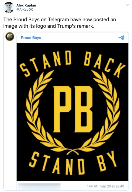 Screengrab of Twitter post from Media Matter's researcher Alex Kaplan with picture of new Proud Boys logo
