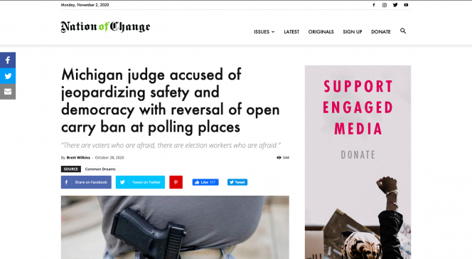 Nation of Change.com, Headline and an image of a gun tucked into someone's waistband.