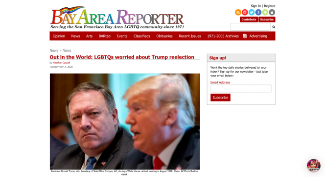 Bay Area Reporter in Rainbow colors, headline and a picture of president Trump
