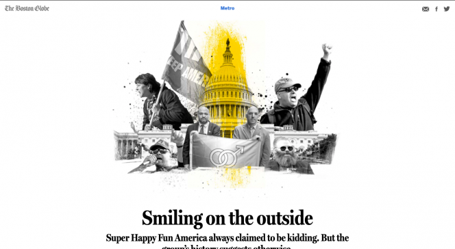The Boston Globe metro page. A collage of people with their fists in the air and the U.S. Capitol