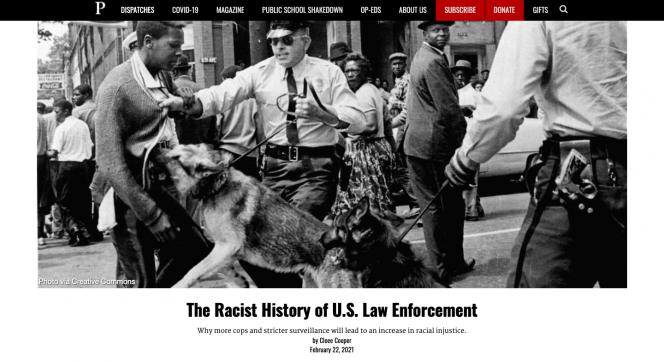 A Black bar with the logo of The Progressive. A picture of a white policeman holding onto the leash of a dog that is biting a black man.