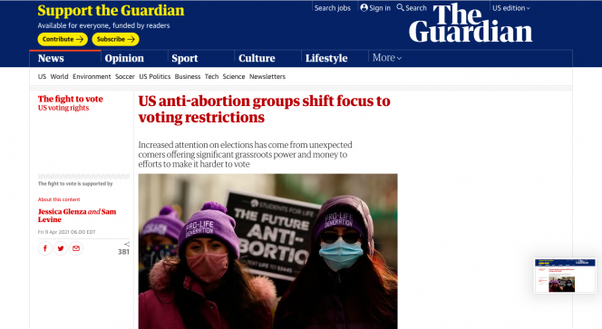 Blue bar across the top with The Guardian on it. An image of two women wearing pro-life hats.