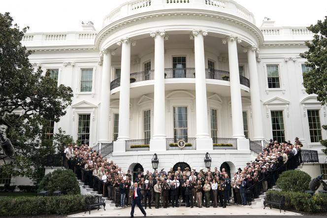 "President Donald J. Trump waves and is cheered as he concludes his visit with ""The Nation's Sheriffs,"" Thursday, Sept. 26, 2019, at the South Portico of the White House. (Official White House Photo by Joyce N. Boghosian)"