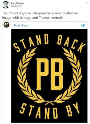 Proud boys stand back and stand by logo t shirt from twitter post