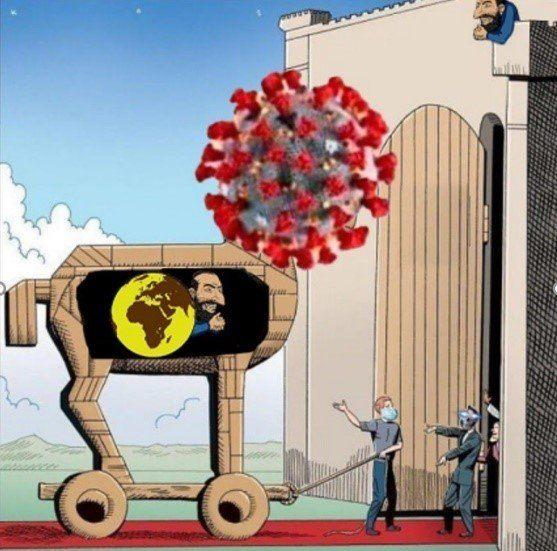 "Cartoon of the coronavirus presented as a trojan horse for ""globalist"" Jews (Credit: ADL/Courtesy)"