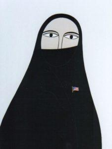 Helen Zughaib, Abaya with Flag Pin, gouache on board, 2008, collection of Maymanah Farhat and Athir Shayota
