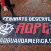 Vanguard America banner removed from State House lawn by Women's March 2.0 participants in Providence, RI