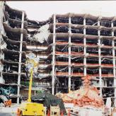 Alfred P. Murrah Federal Building after bombing, 1995.