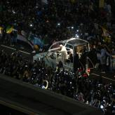 Pope Francis arrives at Copacabana beach for a welcoming ceremony for World Youth Day 2013 in Rio de Janeiro, Brazil.