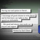 Excepts from the letter written by former Aryan Nations leader Karl Gharst calling for support for David Lenio