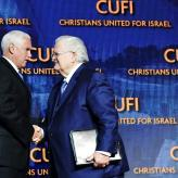 Vice President Mike Pence shakes John Hagee's hand and delivers remarks at the Christians United for Israel Washington Summit in Washington, D.C. Monday, July 8, 2019. (Official White House Photo/Flickr)