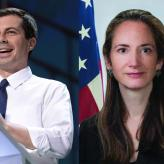 A collage of Pete Buttigieg, Avril Haines, and Michele Flournoy