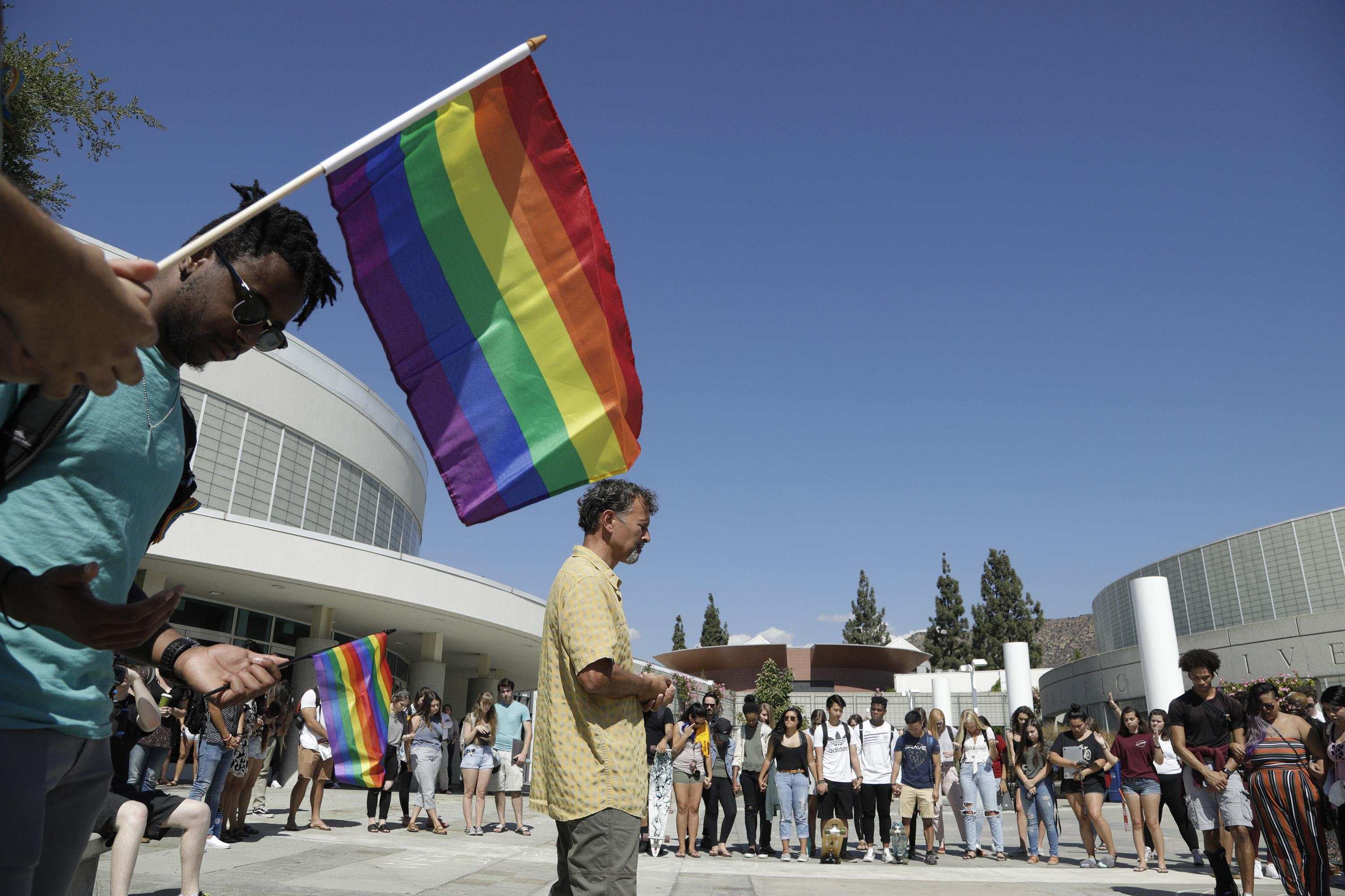 Rally by the LGBTQ Christian community at Azusa Pacific University