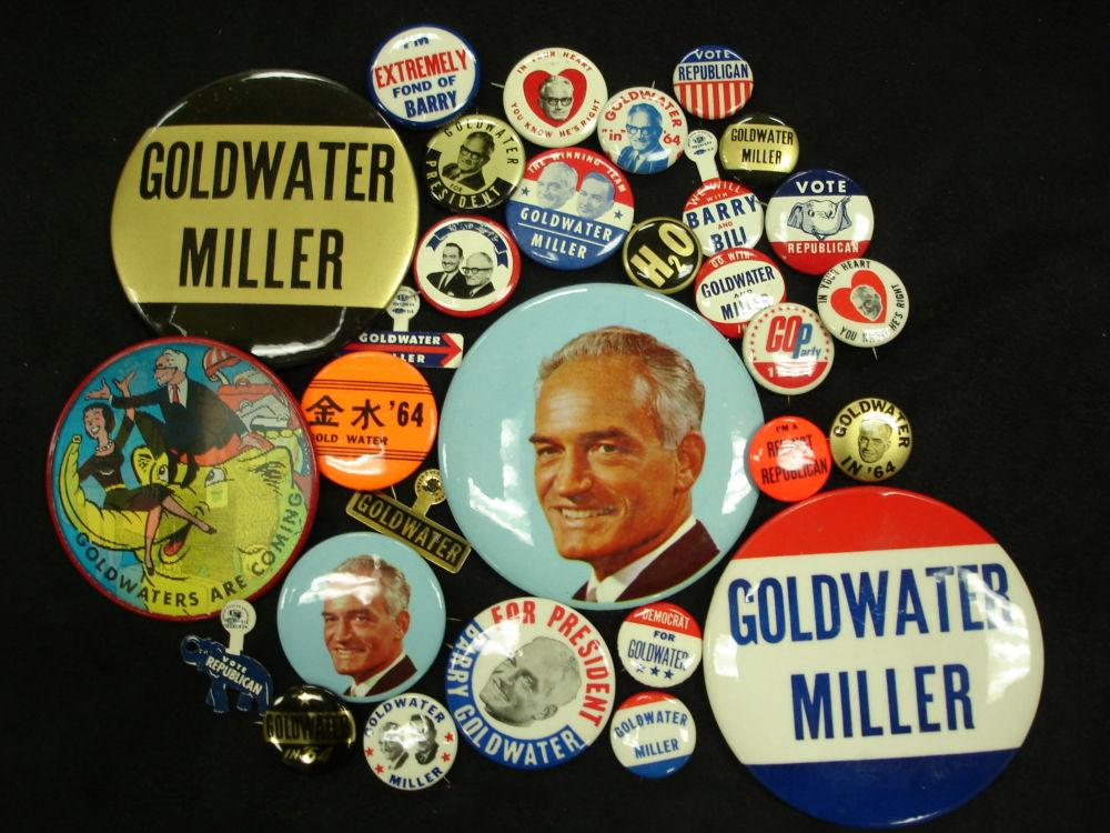 Campaign buttons for the Barry Goldwater (Republican Party) presidential campaign of 1964
