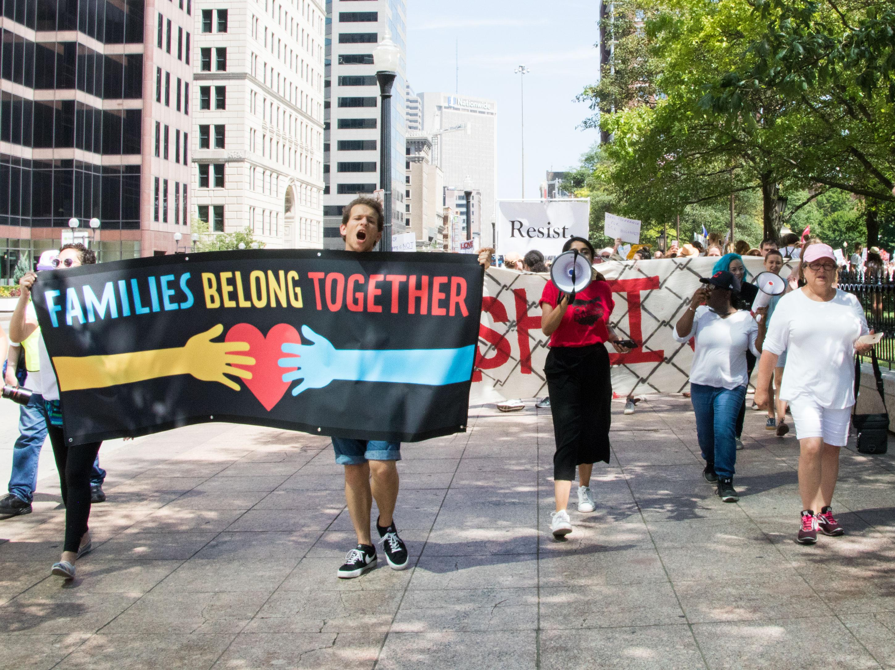 """Families Belong Together"" rally and march in Ohio, June 30, 2018."