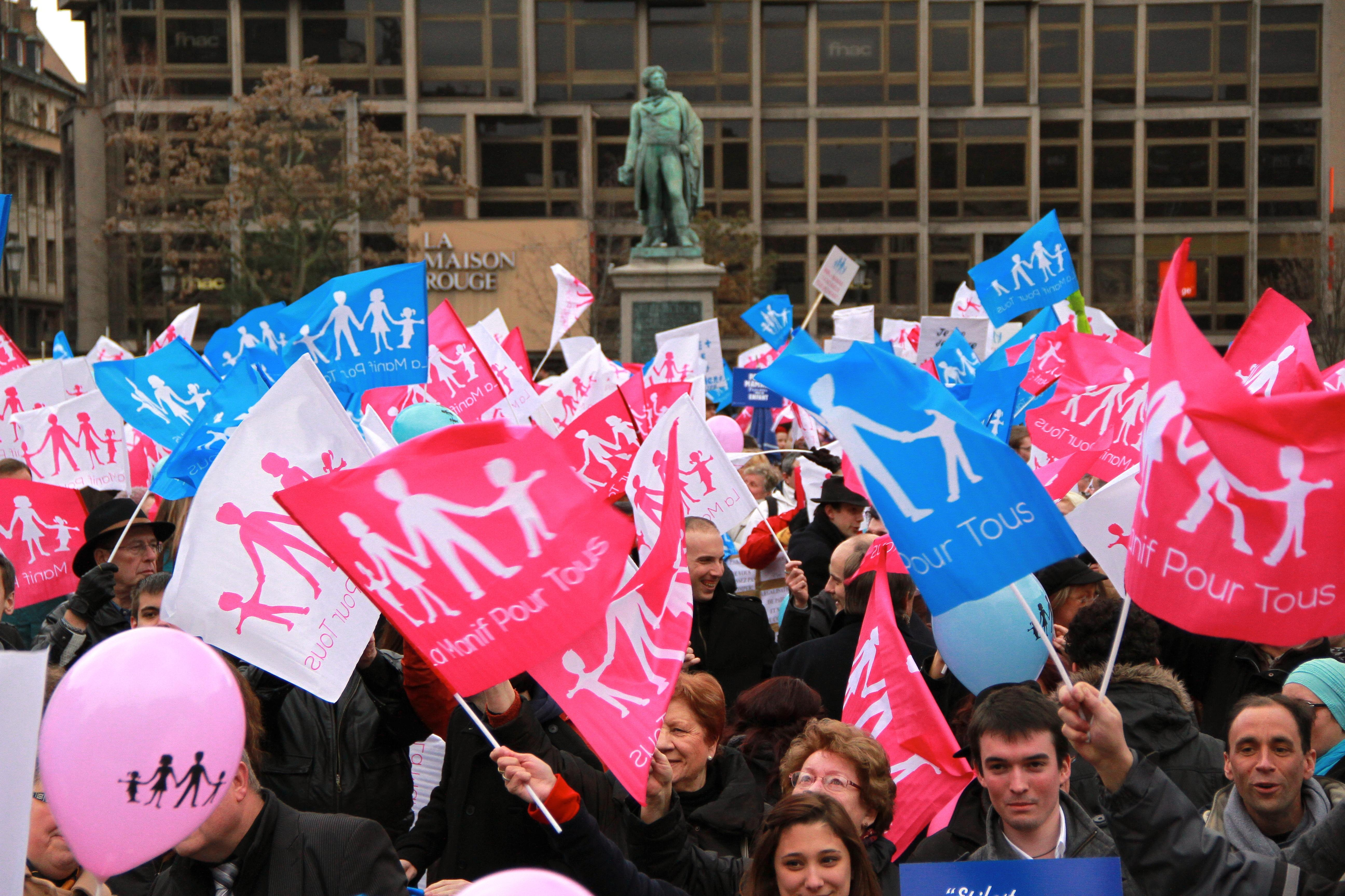 Demonstration against marriage equality in Strasbourg, France, February 2013.