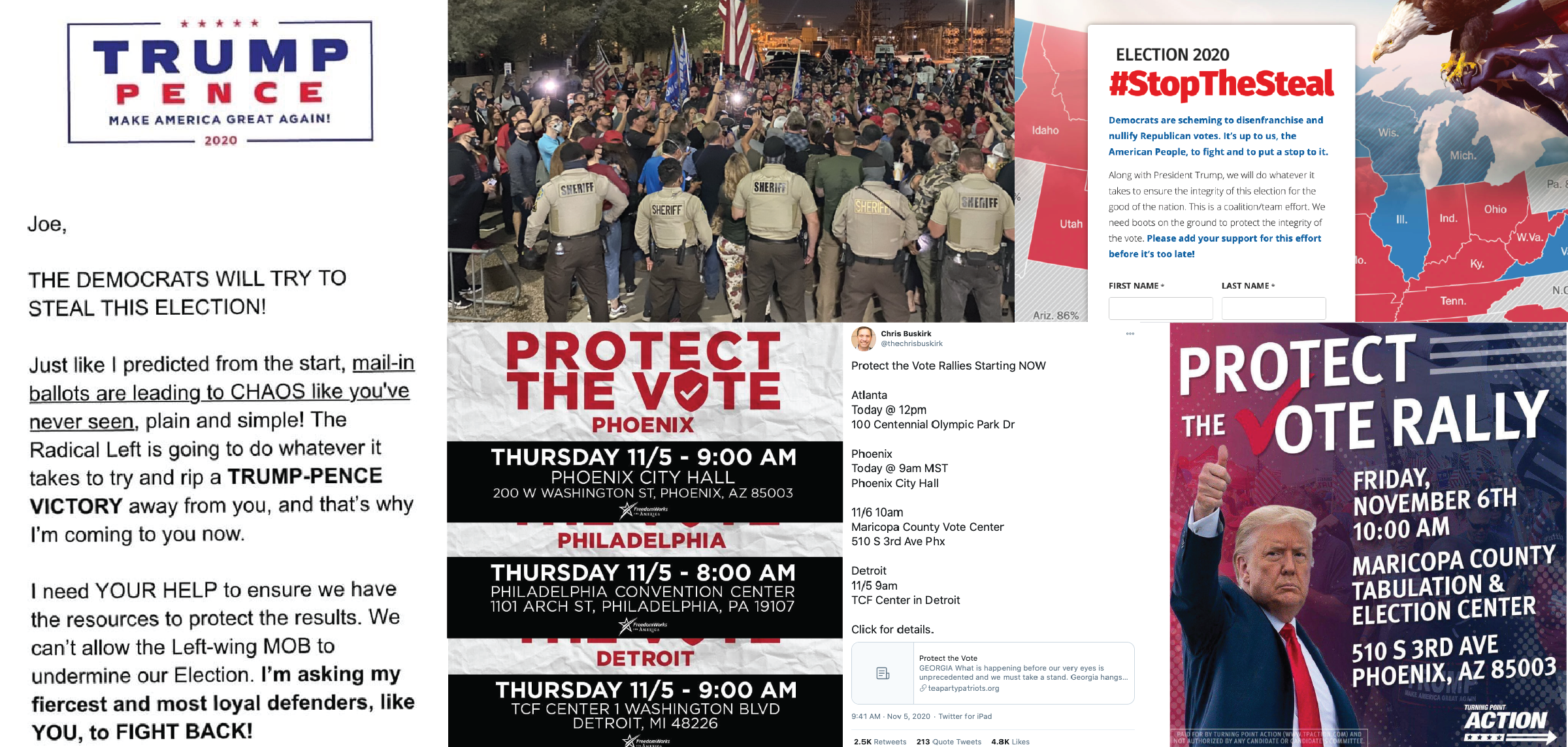 A compilation of calls to action circulating within far-right communities online - mobilizing paramilitary and pro-Trump groups for organized action in key states.